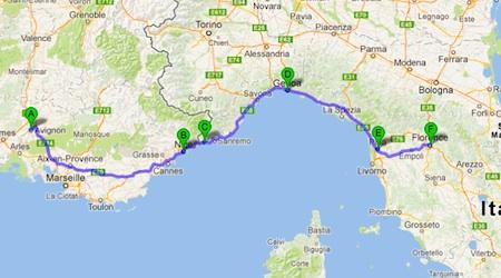 The proposed journey from Avignon - Nice - Ventimiglia - Genoa - Pisa - Florence.
