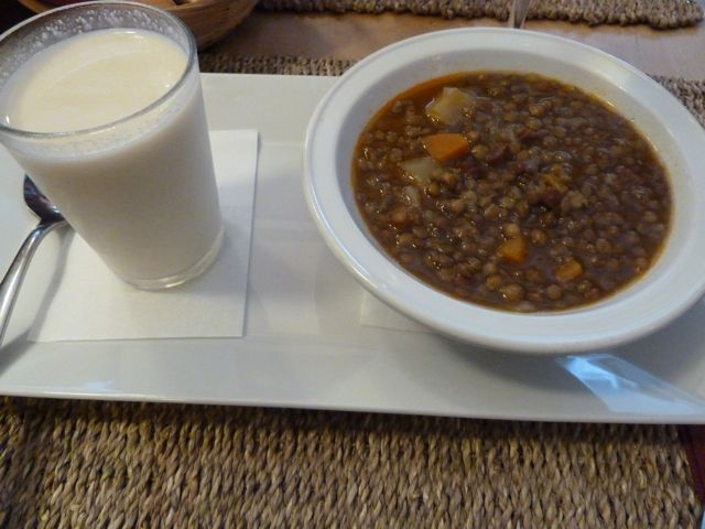 Eating Lentil Soup at Blavis in Barcelona, Spain