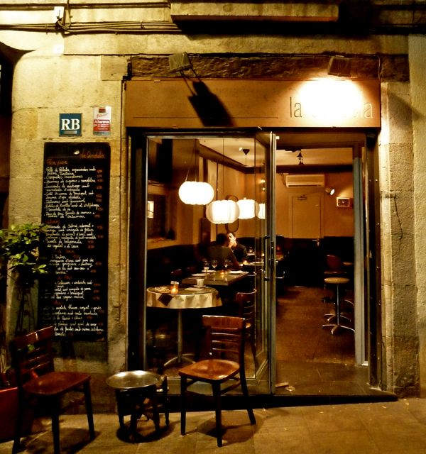 Eating at La Candela in La Ribera in Barcelona, Spain