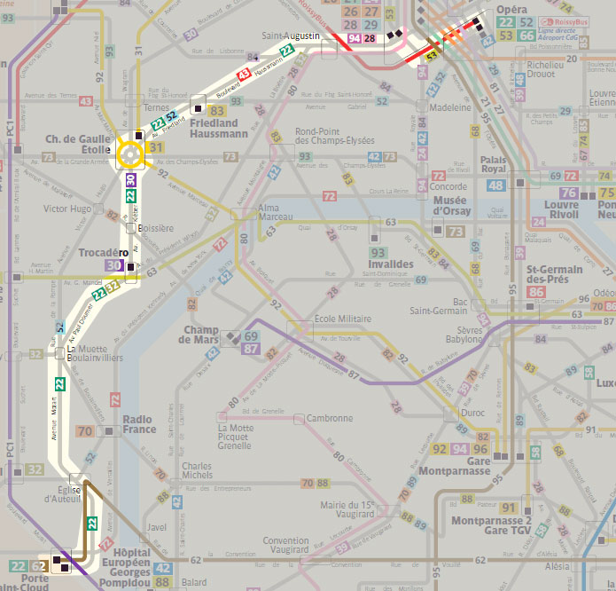 Paris Public Buses That Are Great For Cheapo Sightseeing - Paris map sightseeing