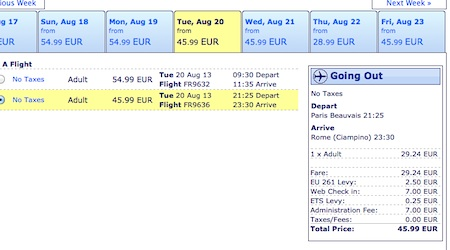 """Ryanair charges €7 for """"Web check in"""" and another €7 as an """"Administration fee."""""""