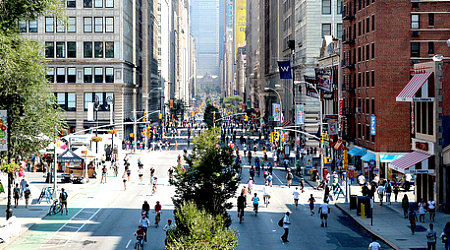 Run, bike, or waddle. Summer Streets are yours. Photo: NYCDOT