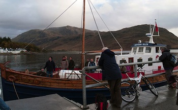 "The ""Western Isles"" arrives at the Knoydart's remote pier. Photo © hidden europe"