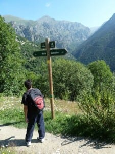 Hiking the trail up to Vall de Nuria