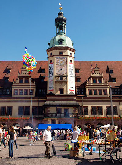 Leipzig's impressive old town hall often hosts exhibits. Photo © hidden europe