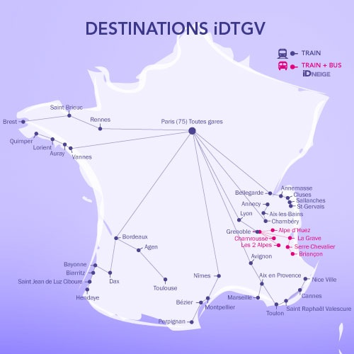 Routes served by the iDTGV service.
