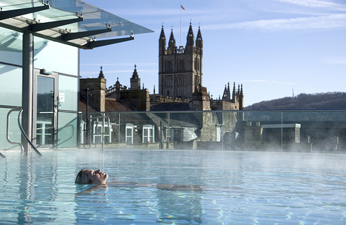 Relaxing at the Thermae Bath Spa. Photo: Visit Britain