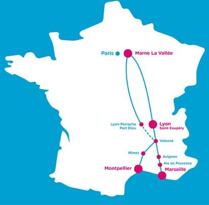 Ouigo offers service between suburban Paris and southeast France.
