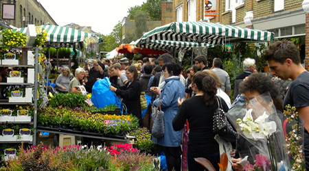 Checking out the scene at the Columbia Road Flower Market. Photo: Magnus D