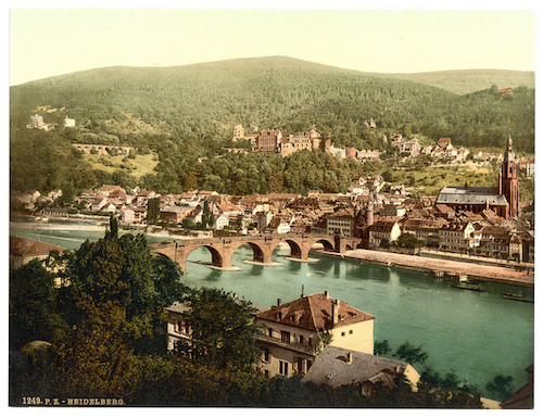 Aerial view of Philosophenweg, a walking path by the river in Heidelberg, Germany