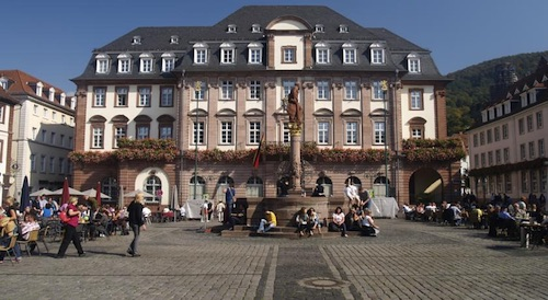 large brick hotel building of the St. Georg hotel in Heidelberg, Germany