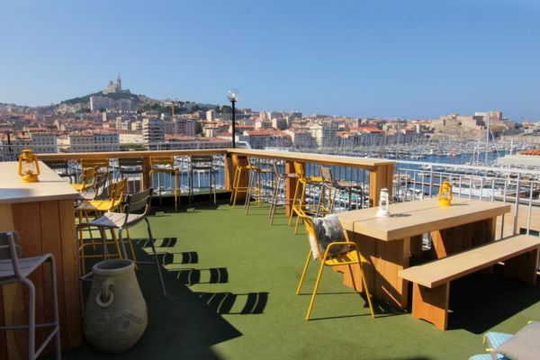 rooftop terrace with port views