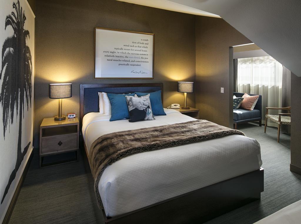stylish brown hotel room at Hotel Hermosa near Manhattan Beach, California