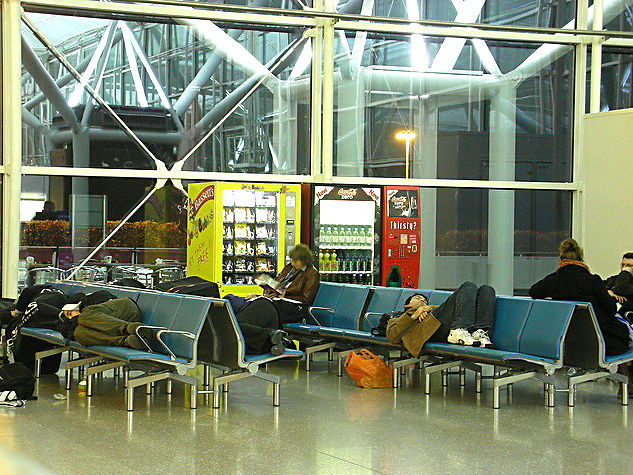 Sleeping at London Stansted